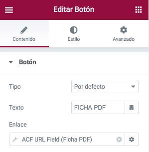 insertar boton con campo ACF en Elementor